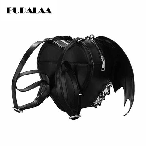Budalaa New 3D Bat Wings Cool Backpacks For Women Black Sexy Lace Backpack Punk Style Japan Street Fashion Women Bags School katyushas Store 1