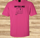 Pop Culture Trendy Funny Byte Bite Me old school PC floppy disk copy hardrive Tshirt Tee T-Shirt Ladies Youth Adult Unisex - Animetee - 1