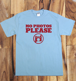 Light Blue Trendy Pop Culture No Photos Please Photograph Photoshop Camera Nikon Canon Tee t-shirt tshirt Unisex Youth Ladies All Sizes - Animetee - 1