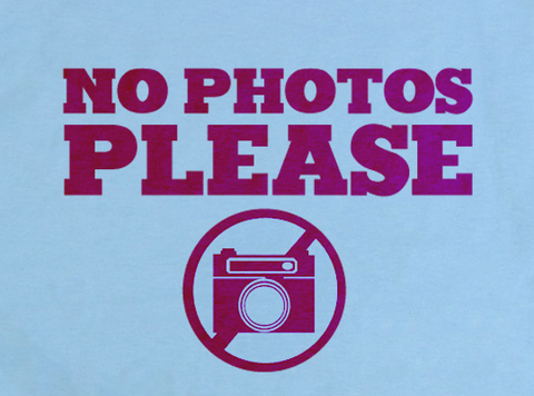 Light Blue Trendy Pop Culture No Photos Please Photograph Photoshop Camera Nikon Canon Tee t-shirt tshirt Unisex Youth Ladies All Sizes - Animetee - 2