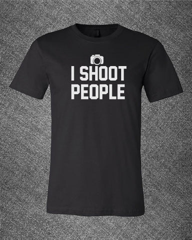 Pop Culture Trendy I shoot people camera photography photogrpher gangster rap Tshirt Tee T-Shirt Ladies Youth Adult Unisex - Animetee - 1