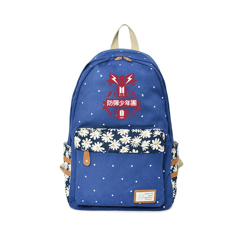 Canvas Backpack BTS School Travel Bag High Quality Bangtan Boys Stylish Summer Cool Backpack Fashion Flower Bags Chidren's Gift Global bags Store 1