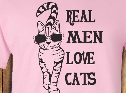 LPink Trendy Pop Culture Real Men Love Cats Sunglasses Hipster Check Meowt tee t-shirt tshirt Toddler Youth Adult Unisex Ladies Female - Animetee - 2
