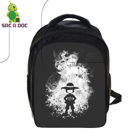 2166c3ff580e Cool Anime One Piece Backpack for Boys School Bags Luffy Trafalgar Law  Outline Children Backpack Cartoon