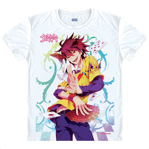 Coolprint Japanese Anime Shirt NO GAME NO LIFE T-Shirts Multi-style Short Sleeve Sora and Shiro Cosplay Costume Kawaii Gift Anime Shirts Store 1