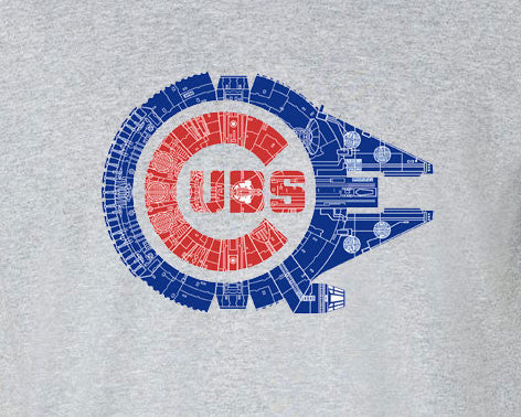 Chicago Cubs Star Wars Mashup millennium falcon Tee T-Shirt - Animetee - 1