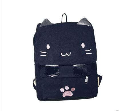 07338d905657 Girls bookbag Cute Cat Embroidery Canvas Backpacks Women Japan Schoolbag  Girls Korean Travel Large Student Shoulder Bag Laptop Bookbag Mochila  AT_52_3