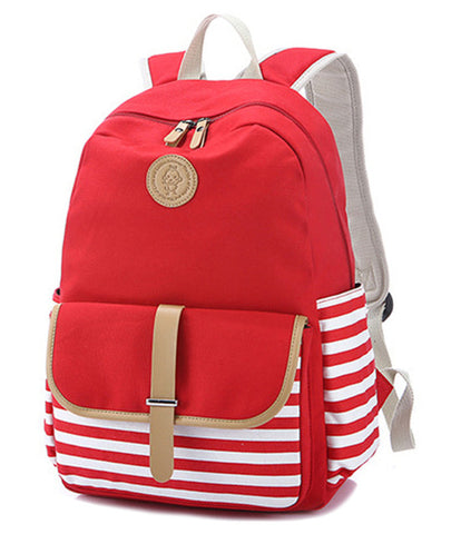 8e7cbff7b0 Cute Lightweight Canvas Stripe Bookbags Water Resistant School Backpacks  Most Durable School Bag for Teenage Girls
