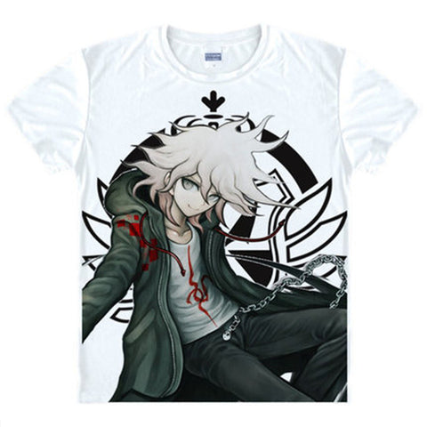 Danganronpa 2 Monokuma Makoto Naegi T Shirt Anime Black and White bear Japanese Famous Animation Novelty Summer Men's T-shirt J&M Factory 1