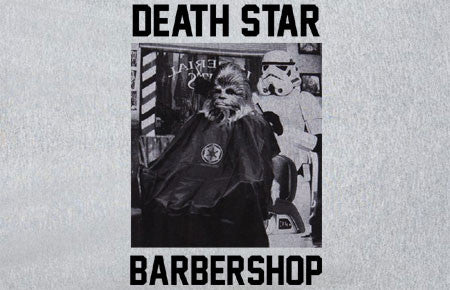 Premium Star Wars Deathstar Barbershop chewbacca storm trooper battlefront Tee Tshirt T-Shirt xbox ps3 ps4 one pc - Animetee - 1