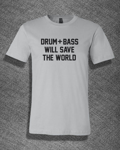 Trendy Pop Culture Drum and Bass will save the world rockster rock on guitar hero 1 2 3 4 Tee T-Shirt Ladies Youth Adult - Animetee - 1