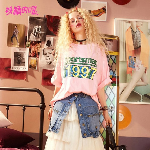 ELF SACK Summer Wide Sleeve Half Women T Shirts Letter Prints Kpop Hip Hop Style Womens Tops Loose Hollow Out Korean Tops Tee ELF SACK Official Store 1