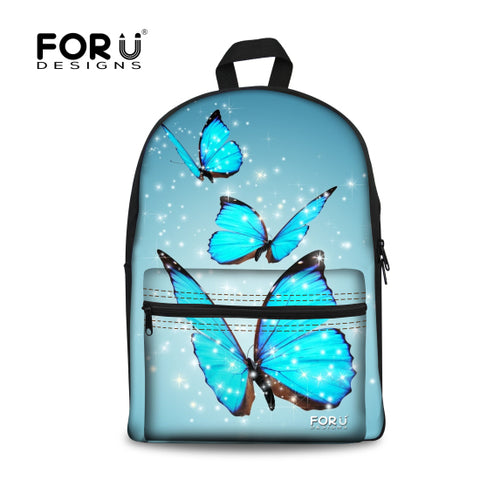 c4d234db332 FORUDESIGNS Children School Bags for Teenager Girls,Canvas Backpack Kids  School Bag Fancy Butterfly Printing