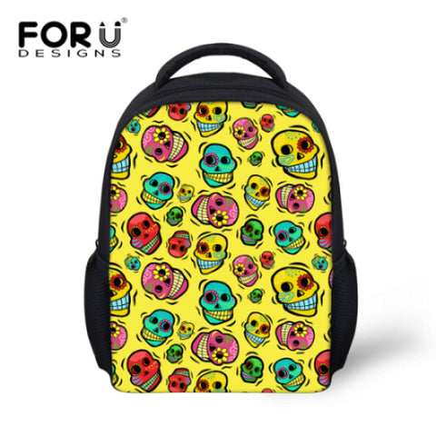 8a211faab228 FORUDESIGNS Small Children School Bags for Girls Boys Cool Skull  Kindergarten Bookbags Cute Mochila Kids Schoolbag