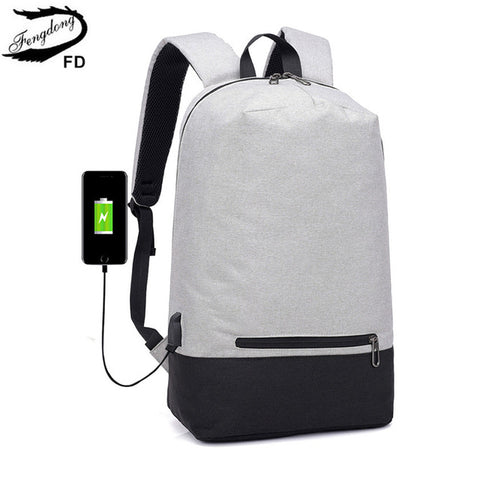 FengDong men minimalist smart backpack usb school bags for boys simple school  backpack with earphone jack 74f3e346ac1fe