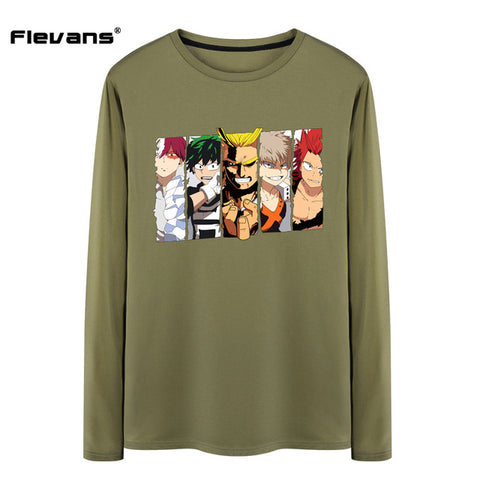 Flevans Spring Autumn Long Sleeve Men Fashion T shirts Japanese Anime Boku no hero academia Cartoon Printed Male T-shirts Flevans AnimationTee Store 1