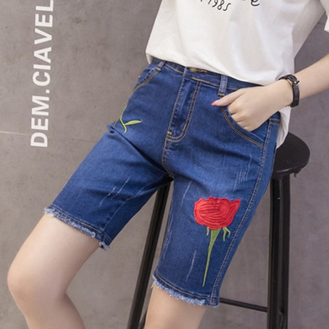68ce5a9007 Flower Embroidery Summer Short Jeans Fashion Burr Ladies Shorts Casual  Large Sizes Denim Shorts for Women