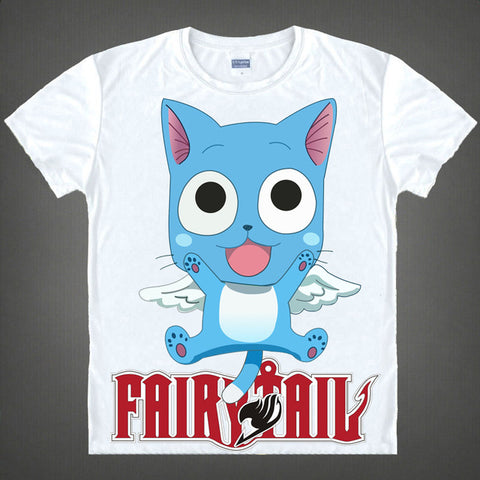Free Shipping Fairy Tail Tshirt Tops Japan Anime Natsu Dragnee T Shirt Tee Summer Short Sleeve T-shirt Tops Unisex Cosplay S-XXL Meow Girl 1