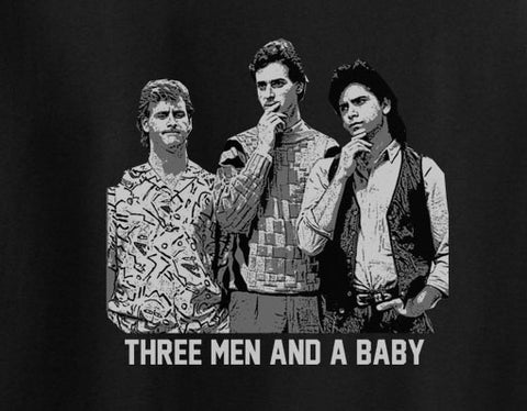 Full House Fuller House Three men and baby Jesse Danny Joey Tee T-shirt 80's - Animetee - 1