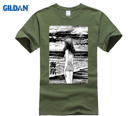 GILDAN Uzumaki Custom T Shirts Japan Sea Horror ga Tshirt Junji Ito Anime Adult Round Neck Short Sleeve Cotton New Shop3616145 Store 1