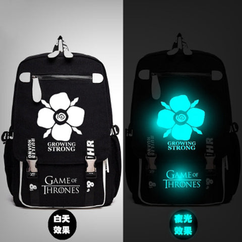 Game of Thrones Winter is Coming Stark Growing Strong Backpack Messenger Luminous Book Bag School Travel Bags Anime Gift 1215 1