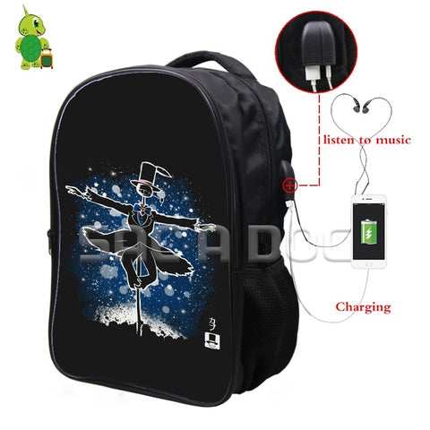 0ec139d627e3 Ghibli Anime Howl s Moving Castle Fluorescence Backpack Multifunction USB  Charging Headphone Jack School Bags Teens Travel
