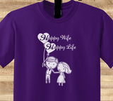 Trendy Pop Culture Depression cure Happy wife happy life family decal marriage newlywed Tee T-Shirt Ladies Youth Adult Unisex - Animetee - 1