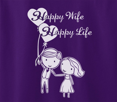 Trendy Pop Culture Depression cure Happy wife happy life family decal marriage newlywed Tee T-Shirt Ladies Youth Adult Unisex - Animetee - 2