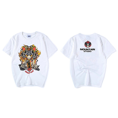Harajuku Japanese Anime T Shirt Cartoon Cat New 2018 Summer Hip Hop T-shirt Cotton Letter Print Top Tees Funny Tshirt Streetwear Tiny Spark Store 1
