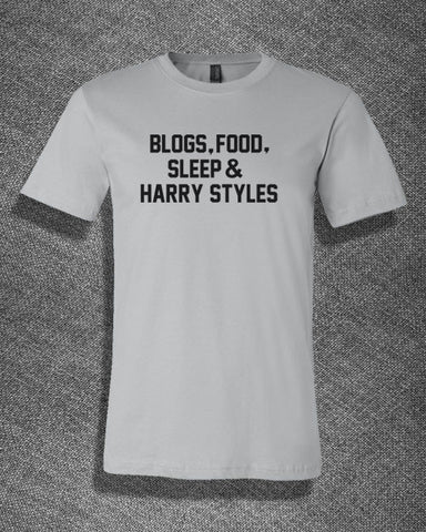 Pop Culture Trendy Blogs Food Sleep % Harry Styles One Direction Tshirt Tee T-Shirt Ladies Youth Adult Unisex - Animetee - 1