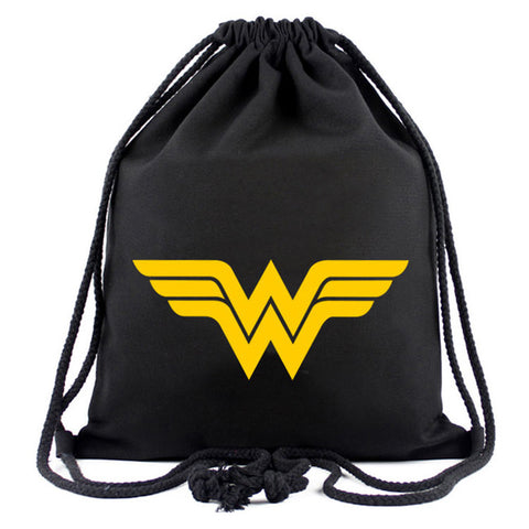 d274a2e0 Hero Wonder Woman Canvas Drawstring Bag Anime Deadpool Batman Superman  Captain America Hulk Pouch Kids Drawstring