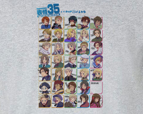35 Expressions of Axis Powers Hetalia Chibi All Countries Tee T-Shirt Shirt - Animetee - 1