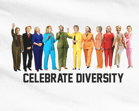 Funny Hillary Clinton Colorful outfits Celebrate diversity loves gays and lesbians tee t-shirt - Animetee - 1