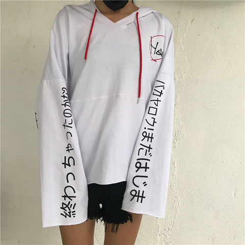 Hiphop Darkness Japanese Letter Print Streetwear Skateboard Gothic Long Sleeve Hooded Tee Shirt Darkness T-Shirt Fashion Kpop ManJin Store 1