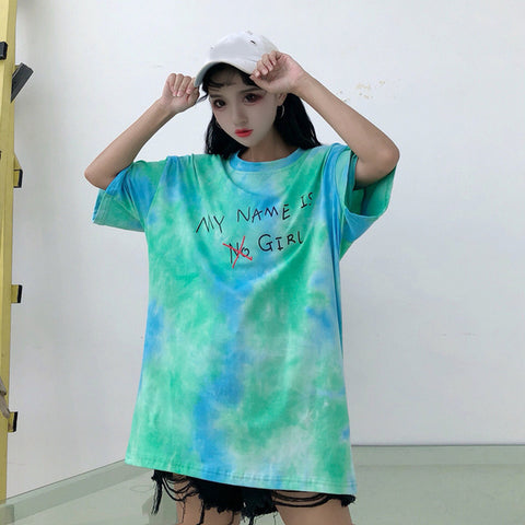 Hiphop Gradient Tie Dye Letter Print Contrast Loose Long Tee Shirt Korean Kpop Streetwear T-Shirt Graffiti Skateboard Top Girl Cocoarmy Store 1