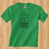 Pop Culture Trendy Funny I Shoot people Camera photographer photography canon nikon mirror Tshirt Tee T-Shirt Ladies Youth Adult Unisex - Animetee - 1