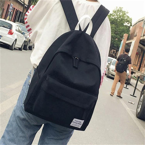 JIANXIU Canvas Solid Color Backpack Japan Style School Bag Female Casual Backpack P bag Store 1