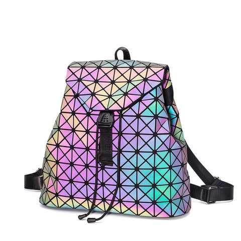 Japan Luminous Geometry Women Backpack Shoulder Bag Folding Student School Bags For Teenage Girl Hologram Bao Female Backpacks Best Reputation 1