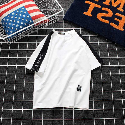 Japan Style Fashion Skateboard Baseball Simple Shirt Women Black White Colorblock Casual Korea T Shirt Cotton Tops Drop Shipping Deja Vu 1