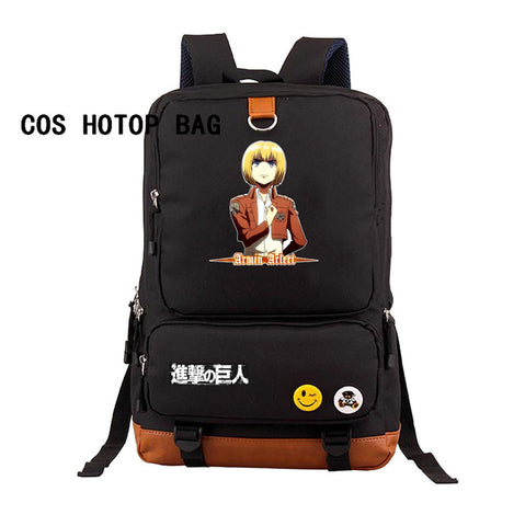 Japan anime Attack on Titan backpack Shingeki no Kyojin Schoolbag Shoulders Bag Students book bag canvas backpack 17 style COSPLAY81888 Store 1