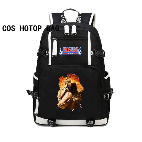 Japan anime Bleach Backpack Canvas black bag School Bags student book bagckpack women men Laptop Backpack Travel Rugzak 10 style COSPLAY81888 Store 1