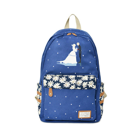 Japanese Anime Aldnoah.Zero Backpack Kindergarten Bags For Teenagers Funny Cartoon Backpacks Travel Flower wave point Bags Global bags Store 1