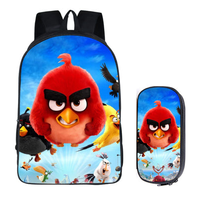 Japanese Anime Angry Bird 2PC Set with Pencil Case Student Backpacks DIY Printing Cool School Bags For Boys Kids Men Book Bag runningtiger Schoolbag Store 1