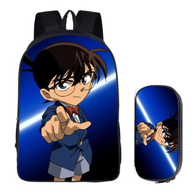 Japanese Anime Conan 2PC Set with Pencil Case Student Backpacks DIY Printing Cool School Children Bags For Boys Kids Men Book runningtiger Schoolbag Store 1