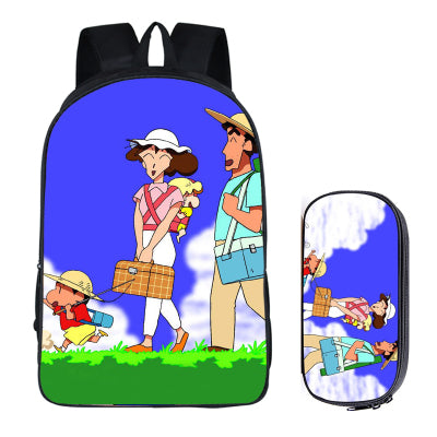 Japanese Anime Crayon Shin-chan 2PC Set with Pencil Case Student Backpacks DIY Printing Cool School Bags For Kids Men Book Bag runningtiger Schoolbag Store 1