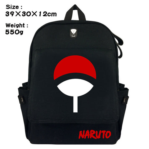 Japanese Anime Naruto Canvas Backpack Black Unisex School Bag Satchel Rucksack Shoulder Travel Bags Work Fashion Leisure Bag anime-bar Store 1