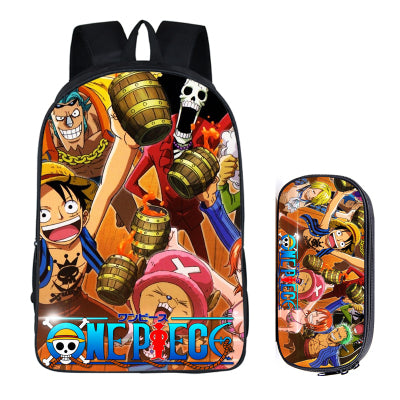 b4356d8bda48 ... Japanese Anime ONEPIECE 2PC Set with Pencil Case Student Backpacks DIY  Printing Cool School Bags For ...