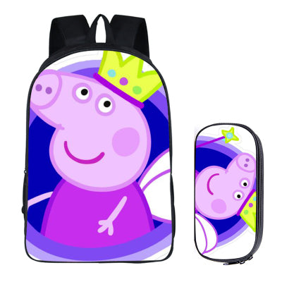 Japanese Anime Peppa Pig 2PC Set with Pencil Case Student Backpacks DIY Printing Cool School Bags For Boys Kids Men Book Bag runningtiger Schoolbag Store 1