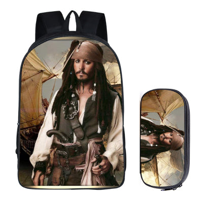Japanese Anime Pirates of the Caribbean 2PC Set with Pencil Case Student Backpacks DIY Printing School Bags For Kids Book Bag runningtiger Schoolbag Store 1