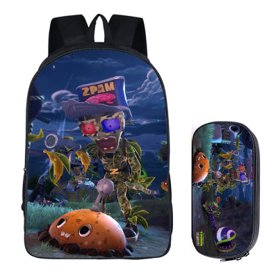 Japanese Anime Plants vs. Zombies 2PC Set with Pencil Case Student Backpacks DIY Printing Cool School Bags For Boys Book Bag runningtiger Schoolbag Store 1